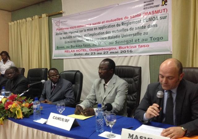Atelier organisé par le Programme MASMUT du 23 au 27 Mai 2016 sur le rôle des mutuelles dans la zone UEMOA et la mise en oeuvre des Régimes d'Assurance Maladie Universelle au Burkina Faso