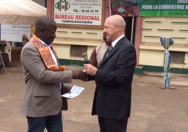 Cérémonie de lancement de la mutuelle des artisans, le 12 juillet 2016 à Yamoussoukro